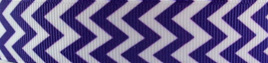 Grosgrain Ribbon x 3 Metres Chevron Stripes: Purple & White