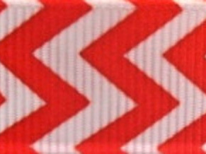 Grosgrain Ribbon x 3 Metres Chevron Stripes: Red & White