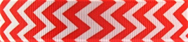 Grosgrain Ribbon x 3 Metres Chevron Stripes: Red & White