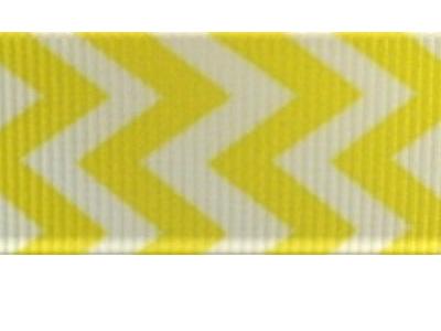 Grosgrain Ribbon x 3 Metres Chevron Stripes: Yellow & White