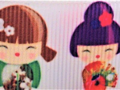 Grosgrain Ribbon x 3 Metres Colourful Japanese Dolls