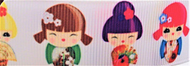 Grosgrain Ribbon x 3 Metres Colourful Japanese Dolls