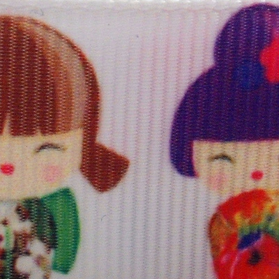 Grosgrain Ribbon x 3 Metres - Colourful Japanese Dolls