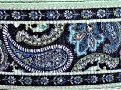 Grosgrain Ribbon x 3 Metres Dark Green & Blue Paisley Pattern