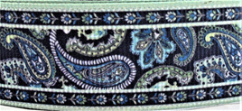 Grosgrain Ribbon x 3 Metres Dark Green & Blue Paisley Pattern