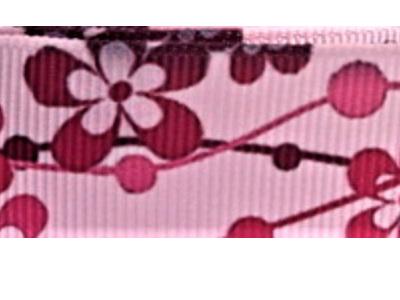Grosgrain Ribbon x 3 Metres Dark Pink Flowers on Pale Pink Background