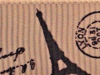 Grosgrain Ribbon x 3 Metres Eiffel Tower: Coffee