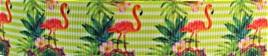 Grosgrain Ribbon x 3 Metres Flamingos and Lime Stripes