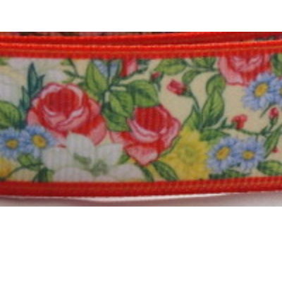Grosgrain Ribbon x 3 Metres - Floral Pattern with Red Border