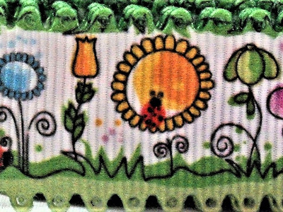 Grosgrain Ribbon x 3 Metres Flower Garden with Green Edging