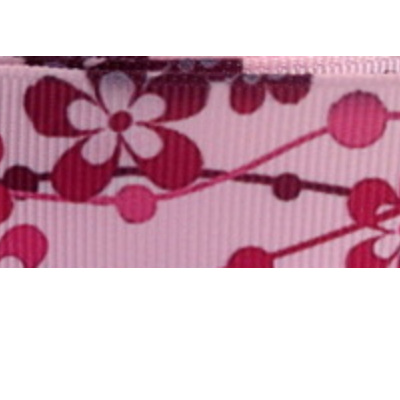 Grosgrain Ribbon x 3 Metres - Flowers on a Pale Pink Background
