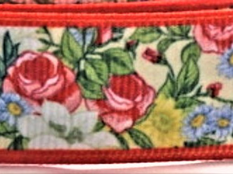 Grosgrain Ribbon x 3 Metres Flowers with Red Border