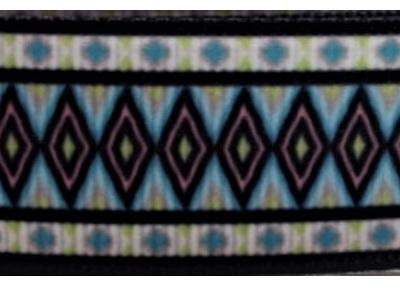 Grosgrain Ribbon x 3 Metres Green & Blue Aztec Pattern