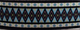Grosgrain Ribbon x 3 Metres Green & Blue Aztec Pattern