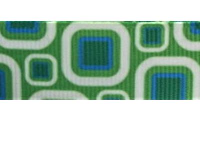 Grosgrain Ribbon x 3 Metres Green Geometric Pattern