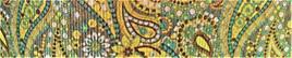 Grosgrain Ribbon x 3 Metres Green & Yellow Paisley Pattern