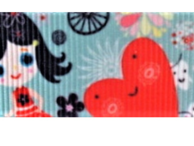 Grosgrain Ribbon x 3 Metres Happy Girls and Hearts CLEARANCE