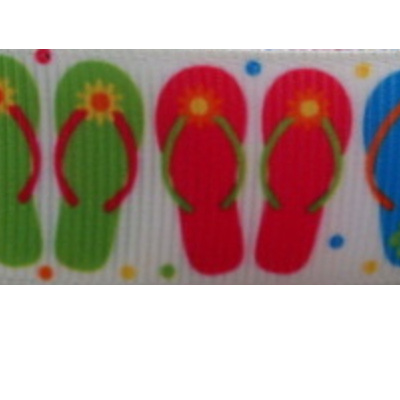 Grosgrain Ribbon x 3 Metres - Jandals on White Background