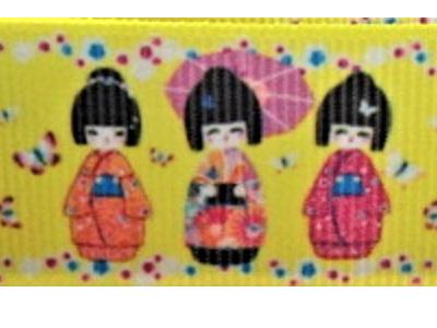 Grosgrain Ribbon x 3 Metres Japanese Dolls on Yellow Background