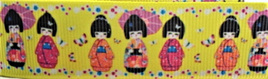 Grosgrain Ribbon x 3 Metres Japanese Dolls on Yellow Background
