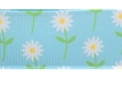 Grosgrain Ribbon x 3 Metres Little Blue & White Daisies