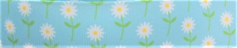 Grosgrain Ribbon x 3 Metres Little Blue & White Daisies