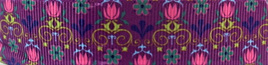 Grosgrain Ribbon x 3 Metres Little Flowers on Purple Background