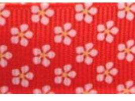 Grosgrain Ribbon x 3 Metres Little Red & White Flowers