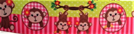 Grosgrain Ribbon x 3 Metres Monkeys