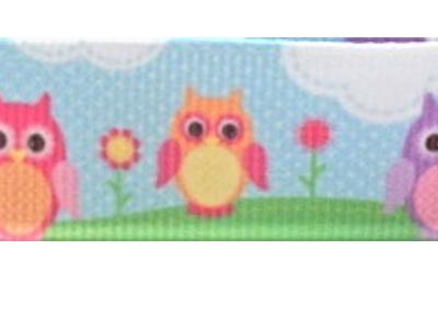 Grosgrain Ribbon x 3 Metres Owls and Lollipop Trees