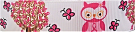 Grosgrain Ribbon x 3 Metres Owls and Trees: Pink