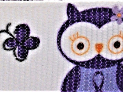 Grosgrain Ribbon x 3 Metres Owls and Trees: Purple