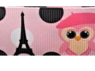 Grosgrain Ribbon x 3 Metres Owls at the Eiffel Tower