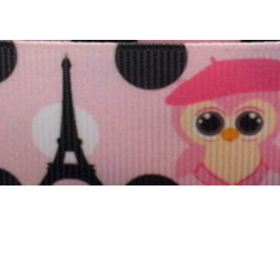 Grosgrain Ribbon x 3 Metres - Owls at the Eiffel Tower