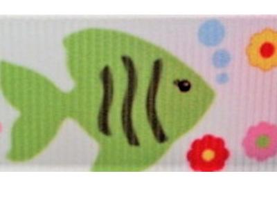 Grosgrain Ribbon x 3 Metres Pastel-Coloured Fish