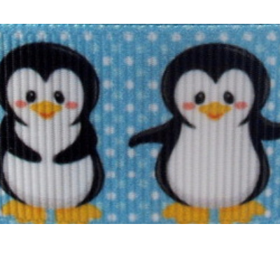 Grosgrain Ribbon x 3 Metres - Penguins & Polka Dots