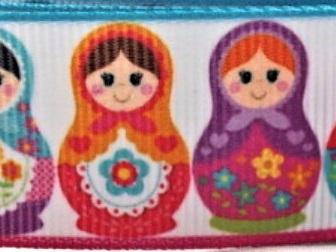 Grosgrain Ribbon x 3 Metres Pink & Blue Russian Dolls