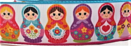 Grosgrain Ribbon x 3 Metres Pink & Blue Russian Dolls