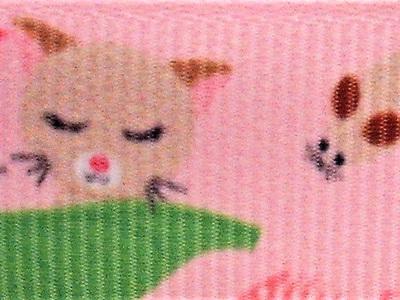 Grosgrain Ribbon x 3 Metres Pink Cats