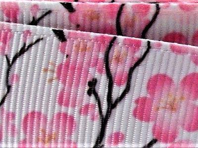 Grosgrain Ribbon x 3 Metres Pink Cherry Blossoms