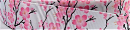 Grosgrain Ribbon x 3 Metres Pink Cherry Blossoms