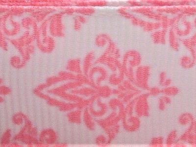 Grosgrain Ribbon x 3 Metres Pink Damask Pattern