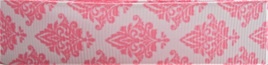Grosgrain Ribbon x 3 Metres Pink Damask Pattern