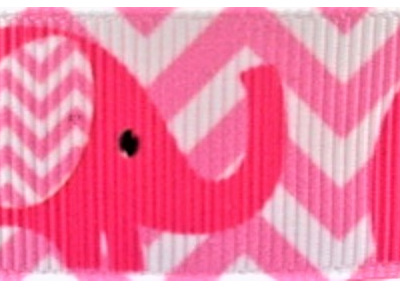 Grosgrain Ribbon x 3 Metres Pink Elephants