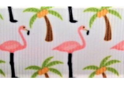 Grosgrain Ribbon x 3 Metres Pink Flamingos and Palm Trees