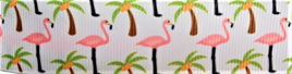 Grosgrain Ribbon x 3 Metres Pink Flamingos and Palm Trees