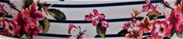 Grosgrain Ribbon x 3 Metres Pink Flowers and Navy Stripes