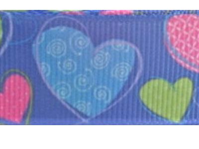 Grosgrain Ribbon x 3 Metres Pink, Green & Blue Hearts