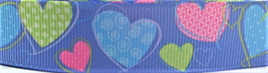 Grosgrain Ribbon x 3 Metres Pink, Green & Blue Hearts