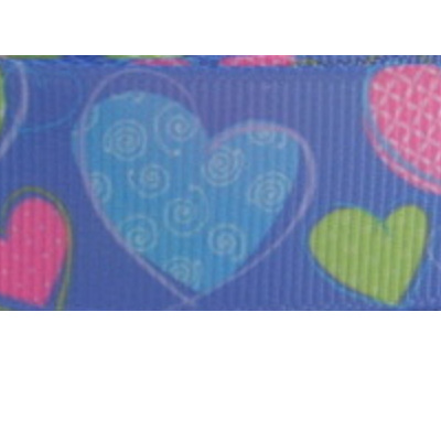 Grosgrain Ribbon x 3 Metres - Pink, Green & Blue Hearts